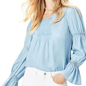 Blue bubble sleeve women's top